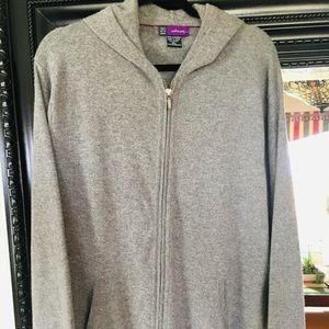 Saks Fifth Avenue 100% cashmere full zip hoodie XL